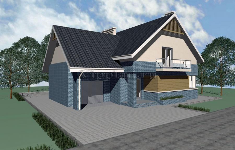 Проекты узких домов.  Компактные дома 100 - 150 м2.  Проект одноэтажного дома с мансардой и гаражом.